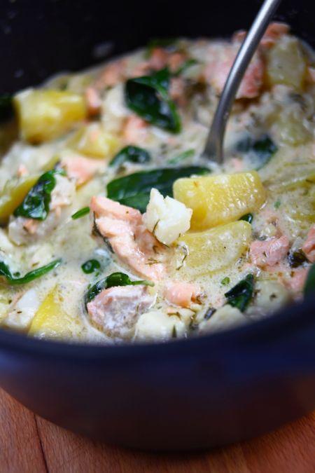 Tárkonyos háromhal leves (lazac-tőkehal-makréla)
